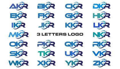 3 letters modern generic swoosh logo AKR, BKR, CKR, DKR, EKR, FKR, GKR, HKR, IKR, JKR, KKR, LKR, MKR, NKR, OKR, PKR, QKR, RKR, SKR, TKR, UKR, VKR, WKR, XKR, YKR, ZKR