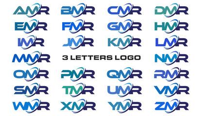 3 letters modern generic swoosh logo AMR, BMR, CMR, DMR, EMR, FMR, GMR, HMR, IMR, JMR, KMR, LMR, MMR, NMR, OMR, PMR, QMR, RMR, SMR, TMR, UMR, VMR, WMR, XMR, YMR, ZMR