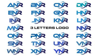 3 letters modern generic swoosh logo ANR, BNR, CNR, DNR, ENR, FNR, GNR, HNR, INR, JNR, KNR, LNR, MNR, NNR, ONR, PNR, QNR, RNR, SNR, TNR, UNR, VNR, WNR, XNR, YNR, ZNR