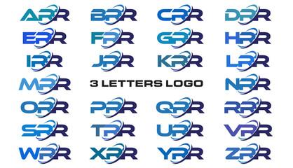 3 letters modern generic swoosh logo ARR, BRR, CRR, DRR, ERR, FRR, GRR, HRR, IRR, JRR, KRR, LRR, MRR, NRR, ORR, PRR, QRR, RRR, SRR, TRR, URR, VRR, WRR, XRR, YRR, ZRR