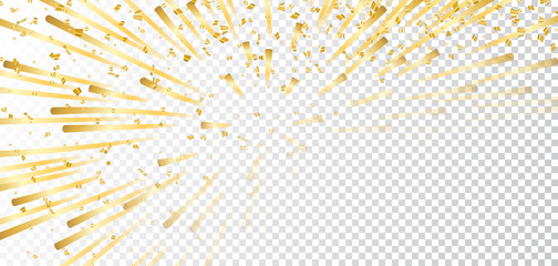 Gold bright firework, confetti on white transparent Christmas background. Golden decoration abstract design Happy New Year card, greeting, Xmas holiday celebrate, invitation. Vector illustration