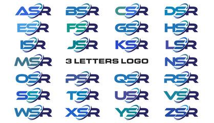 3 letters modern generic swoosh logo ASR, BSR, CSR, DSR, ESR, FSR, GSR, HSR, ISR, JSR, KSR, LSR, MSR, NSR, OSR, PSR, QSR, RSR, SSR, TSR, USR, VSR, WSR, XSR, YSR, ZSR