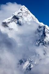Fototapete - Summit of Mt. Ama Dablam from route to Cho La, Himalayas, Solu Khumbu, Nepal