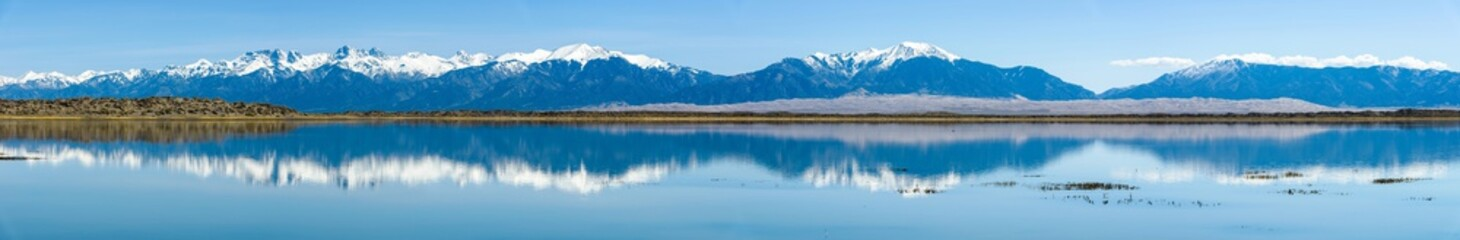 Panoramic view of Sangre de Cristo Range and Great Sand Dunes, looking from San Luis Lake, Colorado, USA.