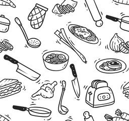cooking doodle seamless background