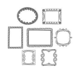 Set of frame doodle isolated on white background