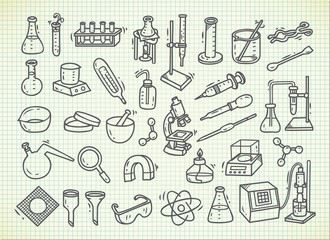 Set of laboratory equipment in doodle style