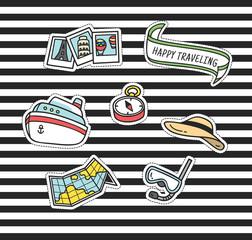 Cute cartoon patch on stripe background