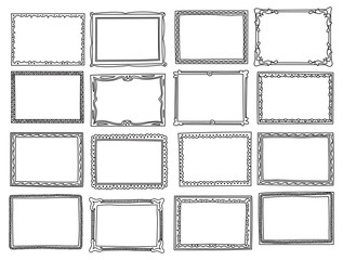 Set of frame doodle isolated on white background
