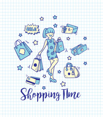 Shopping doodle on paper background