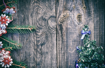 Christmas  gray wooden background, vintage toning