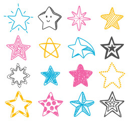hand drawn star doodle element