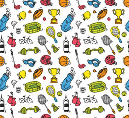Cartoon sport equipment seamless background
