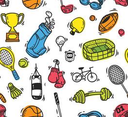 Cartoon sport equipment seamless background