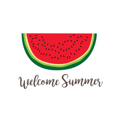 Summer poster with watermelon slice
