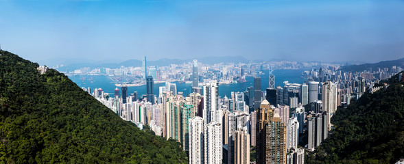 Hong Kong Skyline at Victoria Peak on a Perfect Sunny and Cloudless day