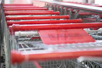 Metal Shop Carts Supermarket Close Up