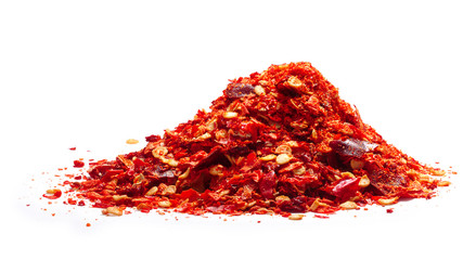 Pile of red pepper flakes, paths