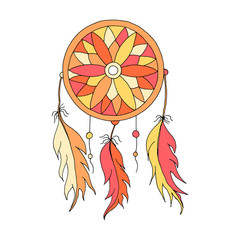 Dreamcatcher color hand to draw  with beads and feathers of birds