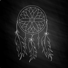 hand to draw a Dreamcatcher with beads and feathers of birds on the chalkboard