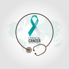 Cervical cancer awareness in January. Vector Illustration