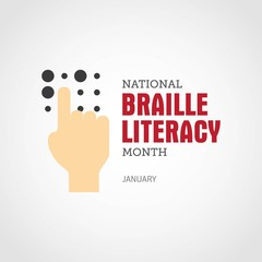 National Braille Literacy Month - January. Vector Illustration