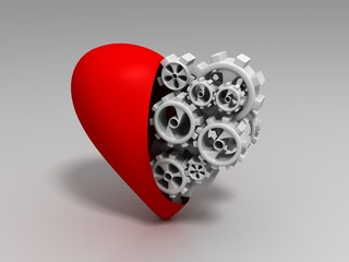 The heart and gears on a white background, 3d render