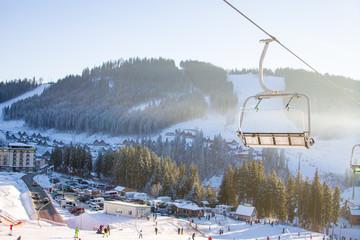 Chairlift in Bukovel ski resort
