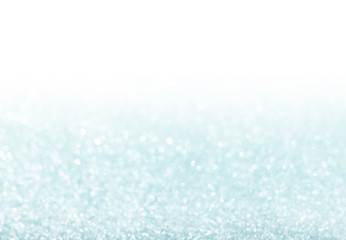 blue glitter bokeh from fresh snow abstract texture background w