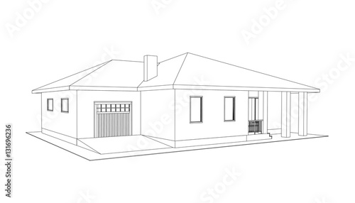 Building Perspective 3d Drawing Of The Suburban House