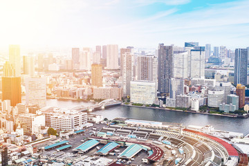 Fototapete - Asia Business concept for real estate - panoramic modern cityscape building bird eye aerial view of Odaiba bay and rainbow bridge under sunrise and morning blue bright sky in Tokyo, Japan.