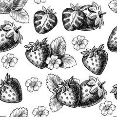 Juicy strawberries. Vector seamless pattern. Vintage style