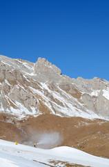 Ski slope in Dolomites, Italy, Europe.