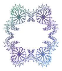 Beautiful floral label with gradient fill. Color silhouette frame for advertisements, wedding and other invitations or greeting cards. Raster clip art.