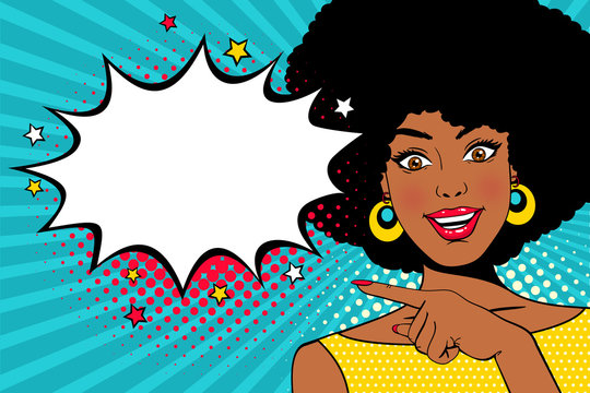 Wow female face. Young sexy surprised african american woman with open smile and hand pointing on empty speech bubble. Vector colorful background in pop art retro comic style. Party invitation poster.