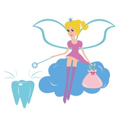 Tooth fairy sitting on a cloud