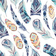 Watercolor ethnic feathers seamless pattern