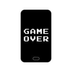 Game over end screen on smartphone - isolated vector illustration