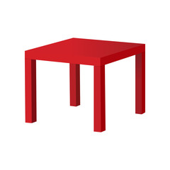 Red table isolated on white background. Vector illustration