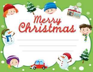Christmas card template with kids and trees