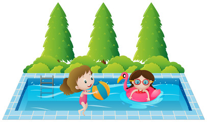 Two girls swimming in the pool