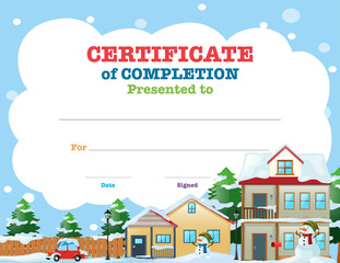 Certificate template with houses in winter