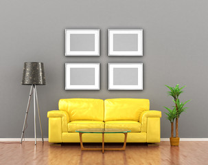 blank pictures on the gray wall weigh over the yellow sofa. 3D i