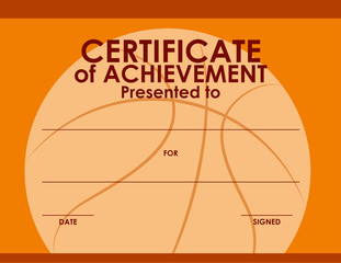 Certificate template with basketball background