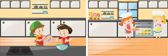 Kitchen scenes with kids cooking and baking