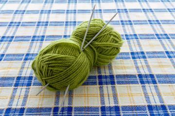 Woolen yarn ball on the table