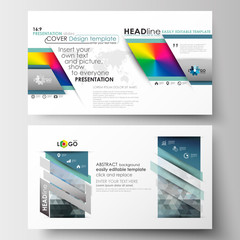 Business templates in HD format for presentation slides. Easy editable layouts in flat design. Abstract triangles, blue triangular background, modern colorful polygonal vector.