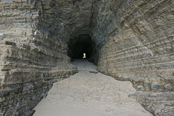 Tunnel in the rock on the seashore, Bourail, Grande Terre, New Caledonia, south Pacific