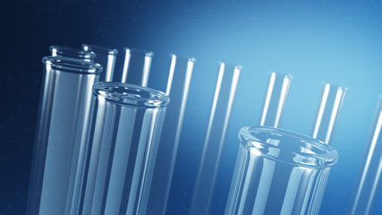 Glass laboratory test tubes with science background