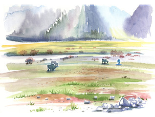 Nepal, mountains, watercolor